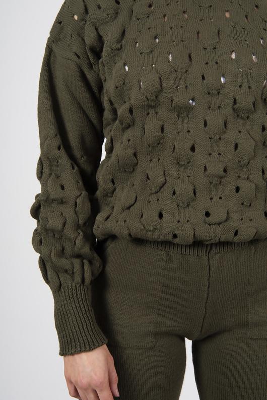 Khaki Knitted Bubble Lounge Set