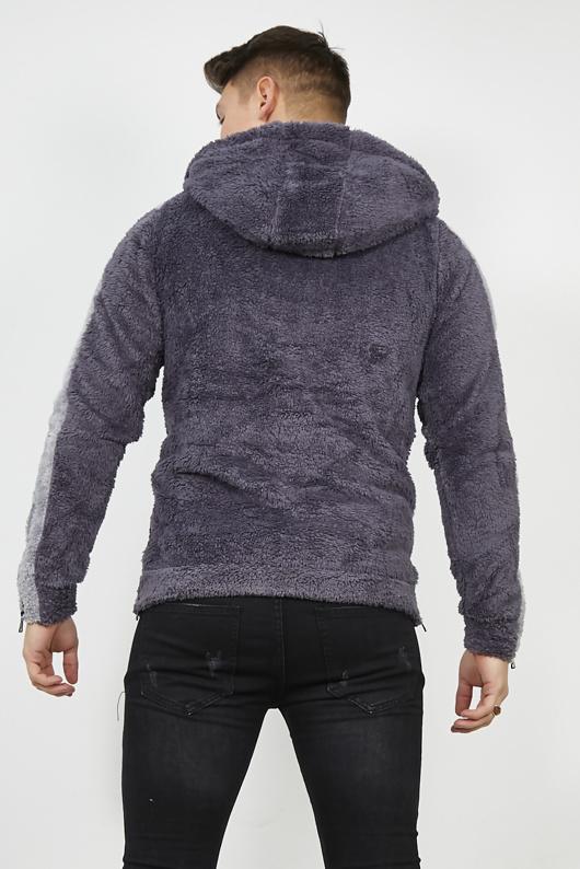 Grey Contrast Stripe Hooded Borg Hoodie