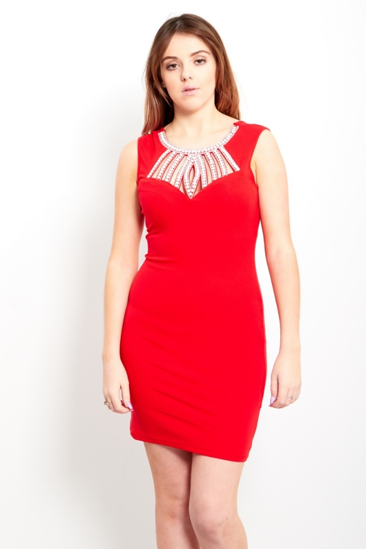 Red Pearl Jewelled Neck Mini Dress