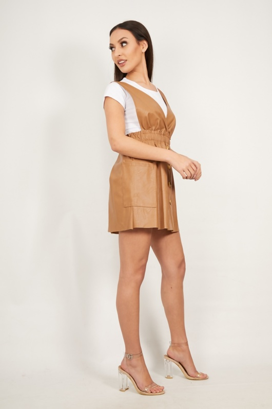 Tan Double V Neck Button Front PU Leather Pinafore Dress