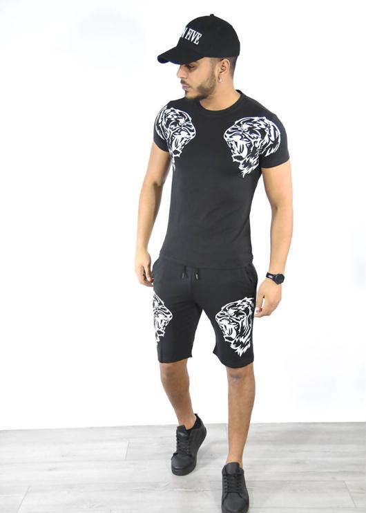 White Tiger Logo T-Shirt And Shorts Set