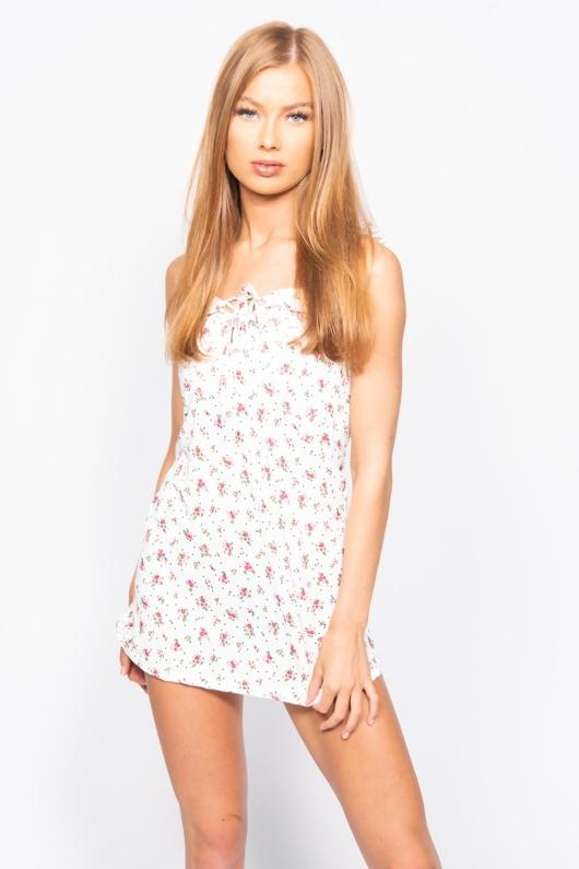 White Floral Print Frill Detail Shift Dress