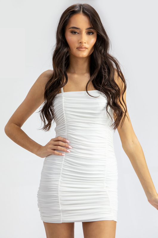 White Ruched Double Layer Slinky Cami Dress