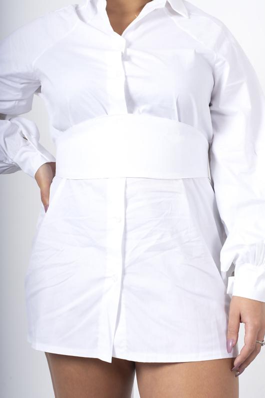 White shirt dress with corset belt