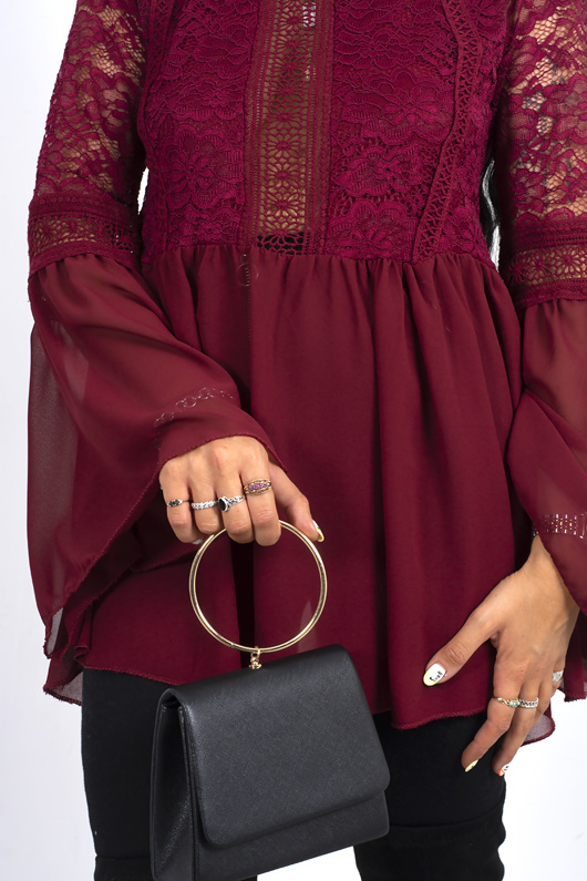 Wine mesh lace detail flare sleeve top