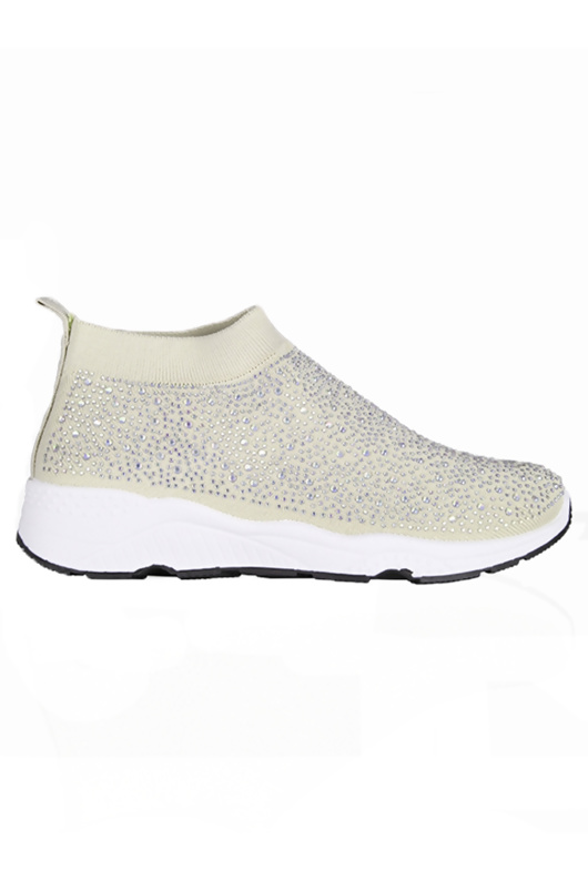 White Diamante Embellished Sock Trainers