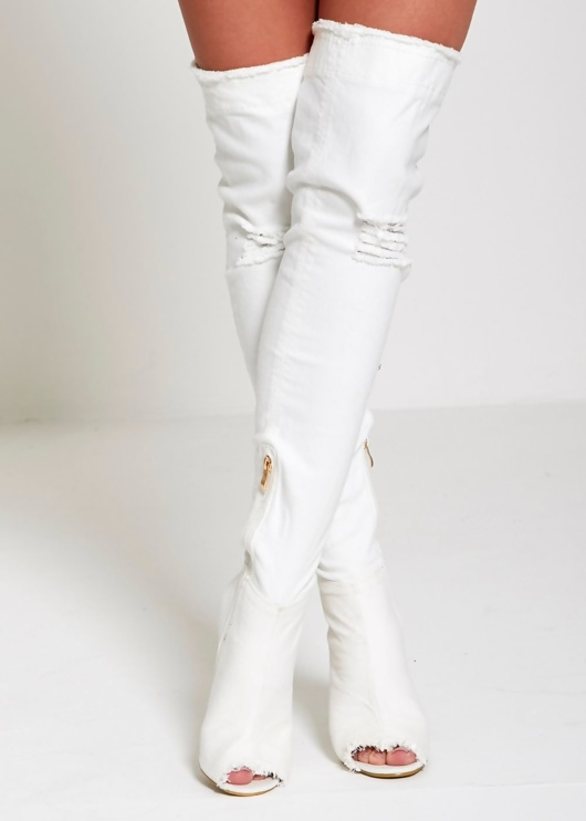 White Denim Ripped Thigh Boots