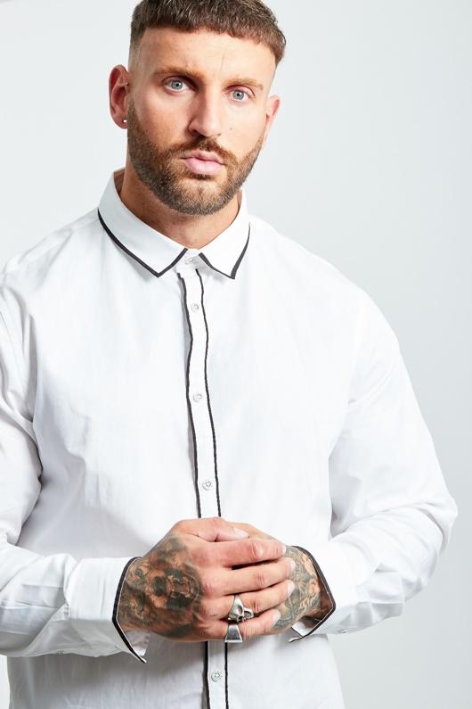 Mens White Monochrome Long Sleeve Shirt