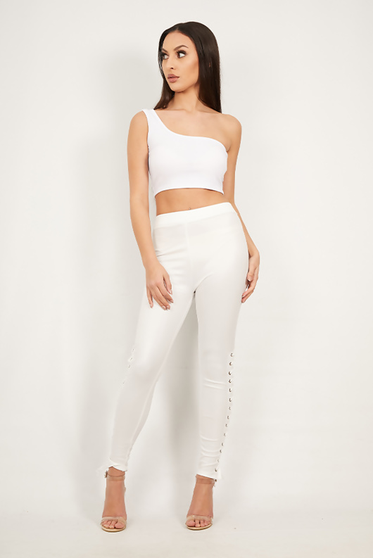 White One Shoulder Jersey Crop Top