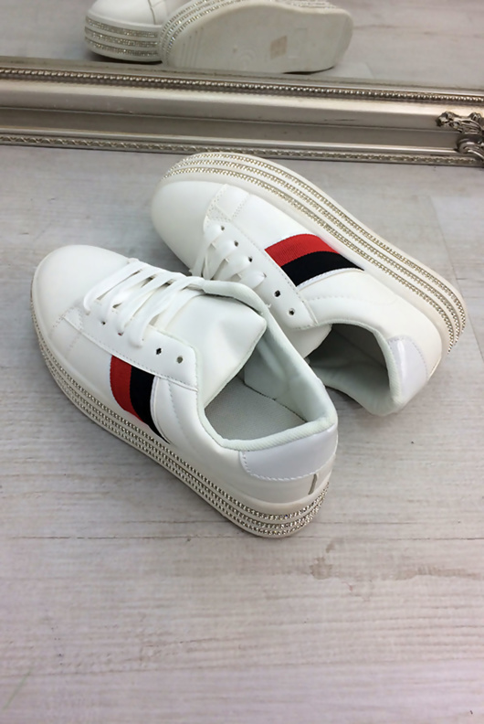 White Striped Embellished Trainers