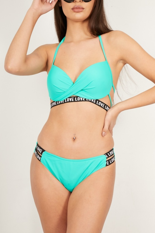 Turquoise Underwired Cup Wrap Front Bikini Set
