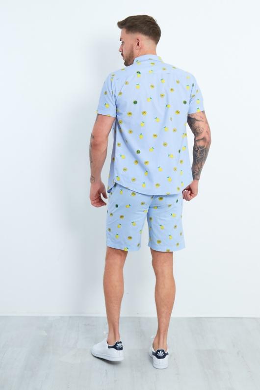 Mens Blue Lemon Print Shirt And Shorts Set