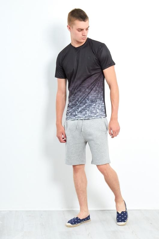 Mens Black Fade Camo Poly Crew Neck T-shirt