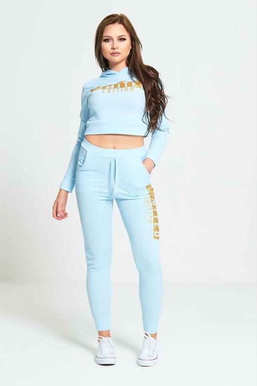 Aqua Limited Edition Loungewear Cropped Hoodie Jogger Set