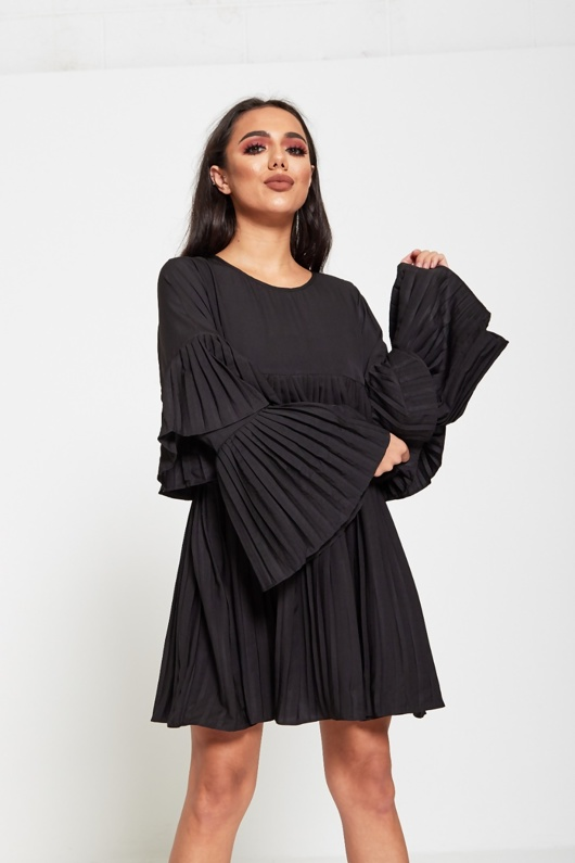 Black Pleated Ruffle Mini Dress