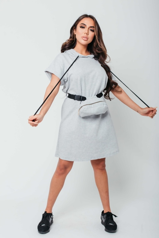 Arianna Ajtar Grey Bumbag Detail Hooded Sweat Dress