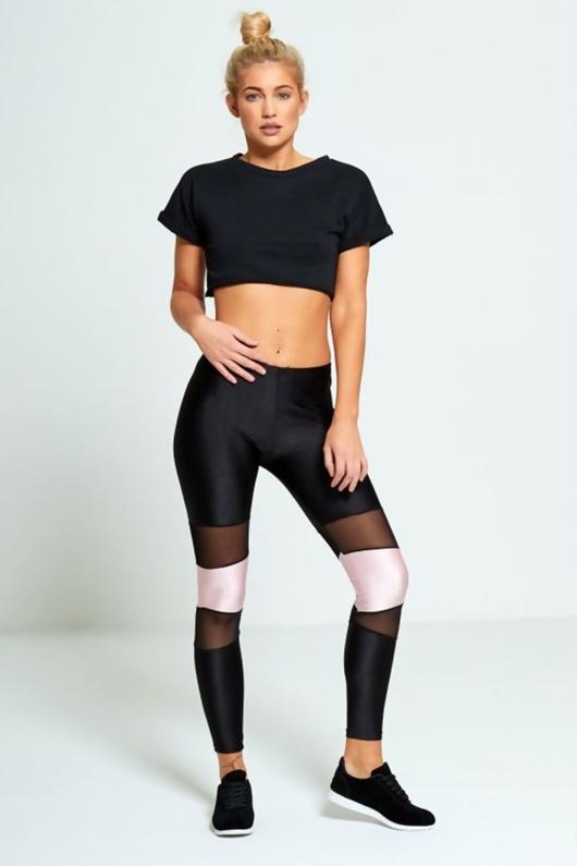 Baby Pink Contrasting Panel Mesh Detail Activewear Leggings