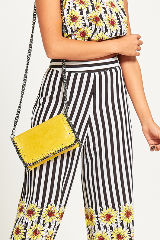 Yellow Metal Frame Leather Crossbody Bag