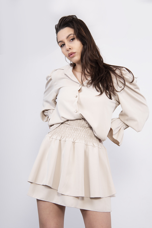Beige Shirred Blouse And Tiered Ruffle Skirt Co-ord