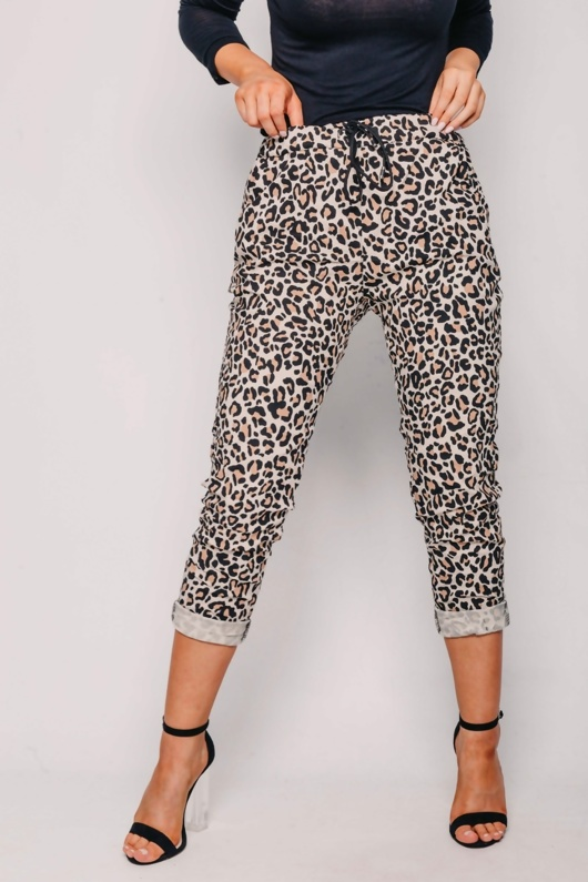 Beige Leopard High Waisted Trousers With Turn Up Detail