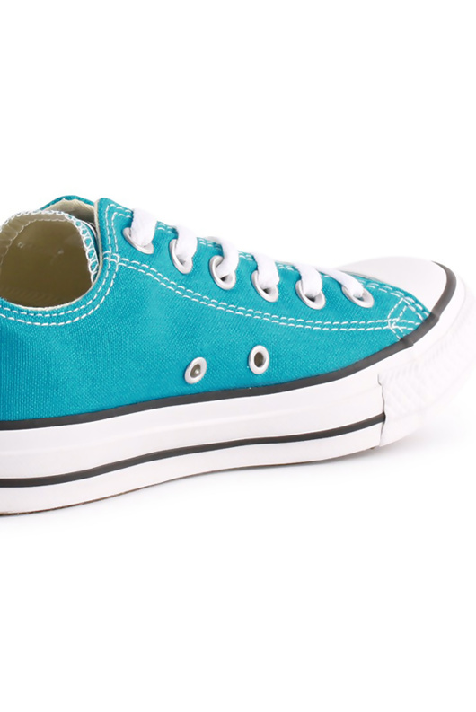 Turquoise Canvas Stripe Sole Flat Trainers