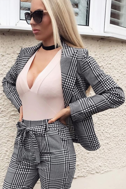 Black And White Gingham Printed Blazer Co-Ords