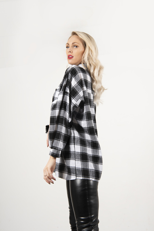 Black And White Checked Balloon Sleeve Shirt