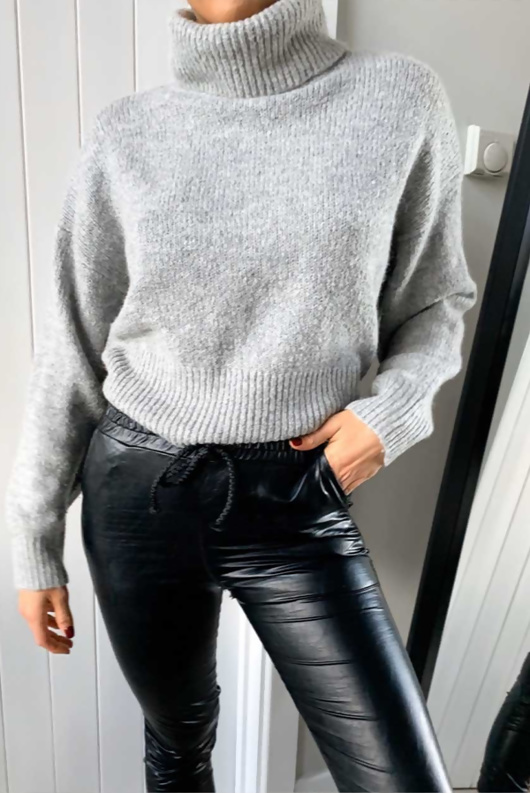 Black Faux Leather Casual Joggers