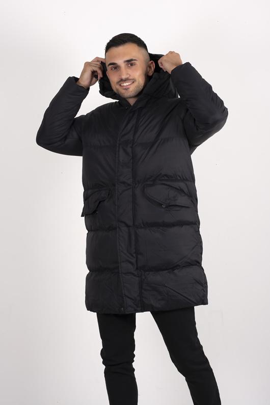 black longline hooded puffer jacket