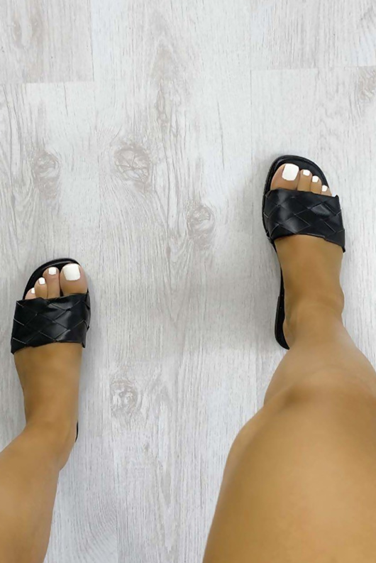 Black Open Toe Braided Sliders