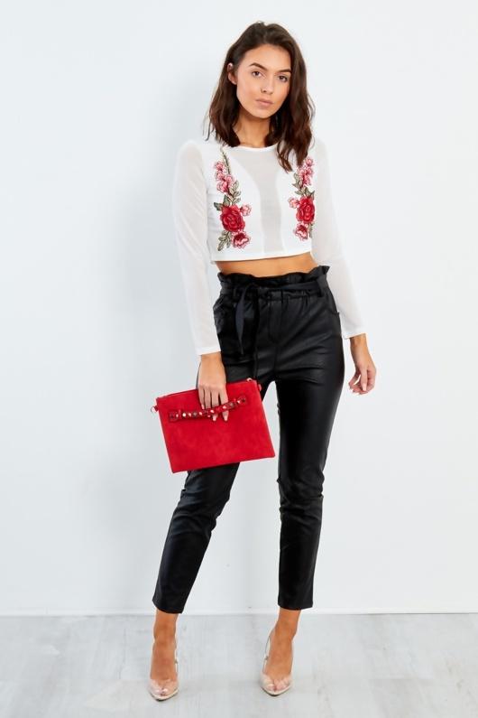 Black Pu Paperbag Waist Tapered Trouser
