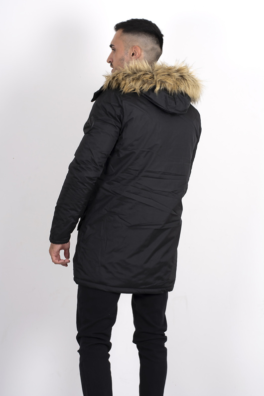 Black Faux Fur Hooded Parka coat