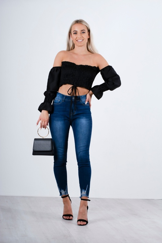 Black Ruched Detail Bardot Crop Top