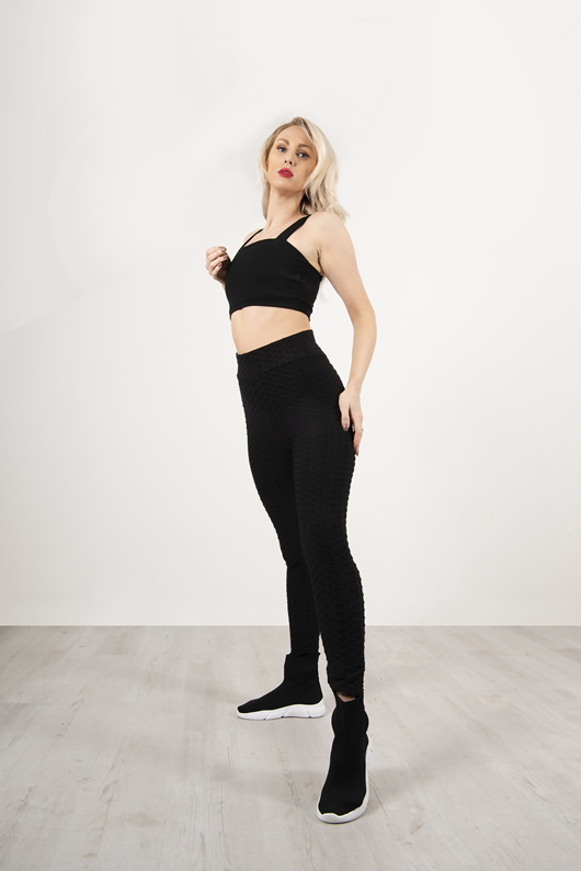 Black Textured Rushed Sports Leggings