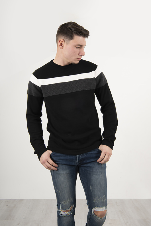 Mens Black Lese Cotton Crew Neck Jumper