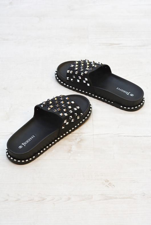 Black Studded Caged Open Toe Sliders