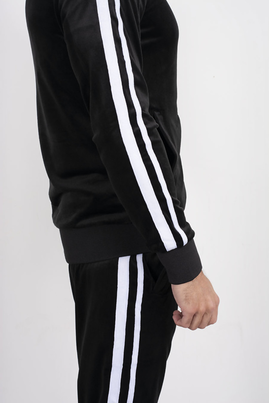 Black Velour White Stripe Tracksuit