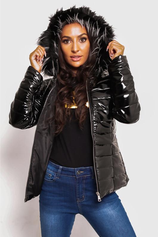 Black With Black Faux Fur Hood Puffer Jacket Preorder