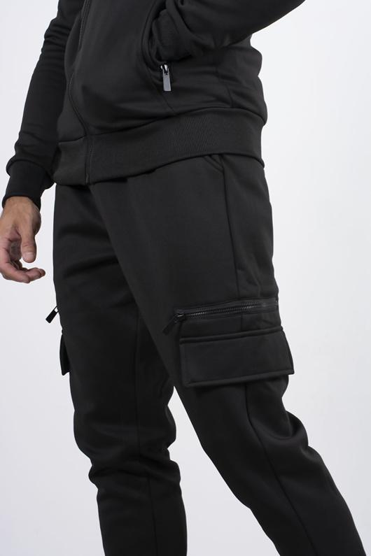 Black Utility Pocket Zip Tracksuit