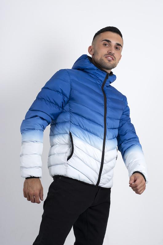 mens blue ombre effect gradient print puffer jacket