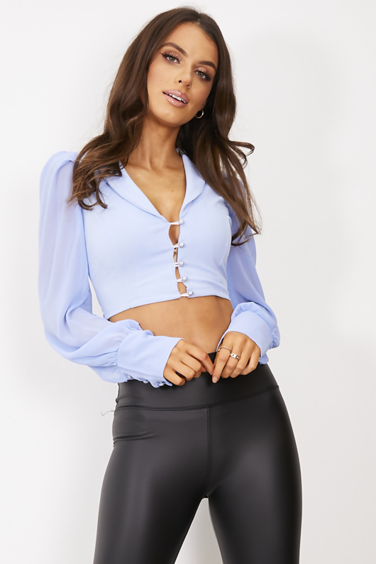 Blue Button Front Organza Mesh Sleeve Blouse