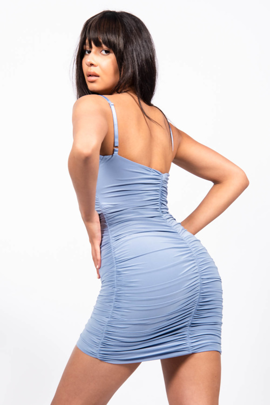 Blue Slinky Ruched Strappy Dress