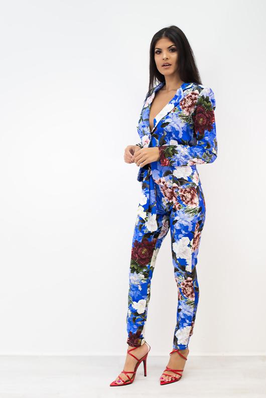 Blue Floral Long Sleeve Blazer Co-Ords