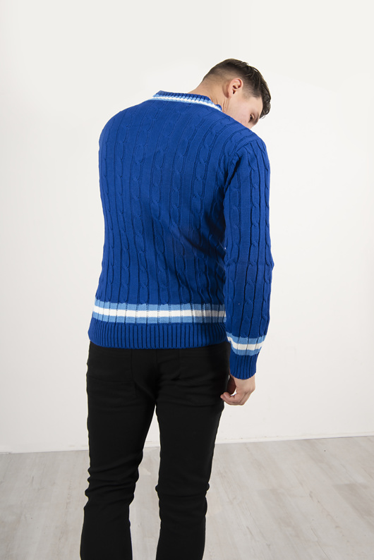 Mens Blue Cable Knitted V Neck Long Sleeve Cricket Jumper