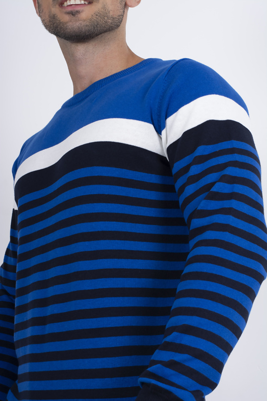 Mens Blue Stripe Contrast Jumper