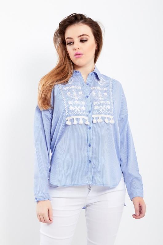Blue Tassel Embellished Embroidered Stripe Blouse