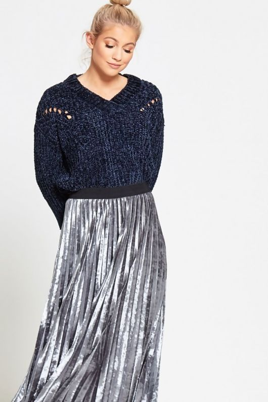 Blue Soft To Touch V Neck Knitted Jumper