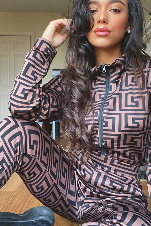 Brown Maze Printed Jacket And Trouser Co-Ord Set