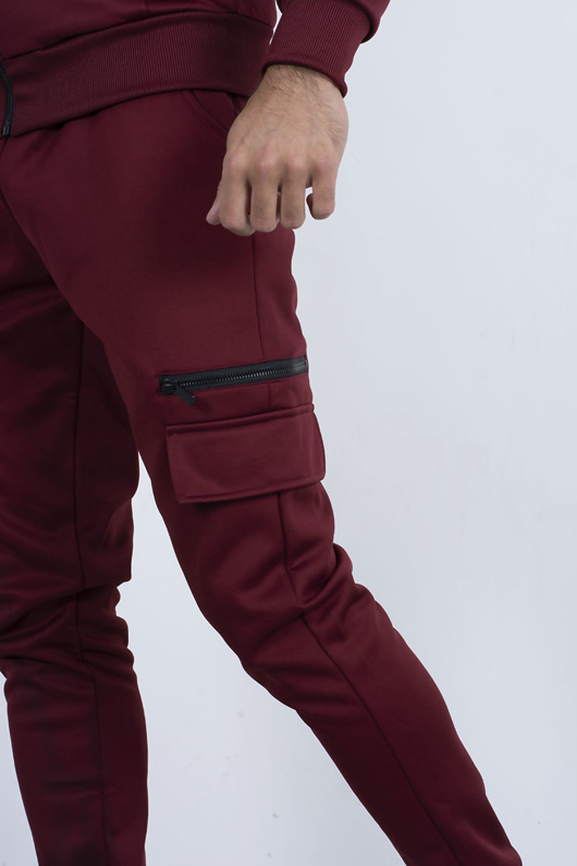 Mens red burgundy Utility Pocket Zip Tracksuit
