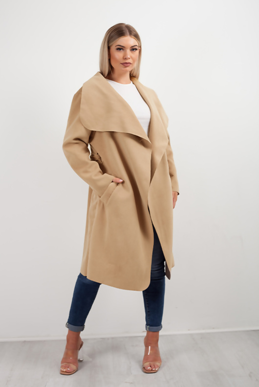 Camel Waterfall Duster Belted Long Coat